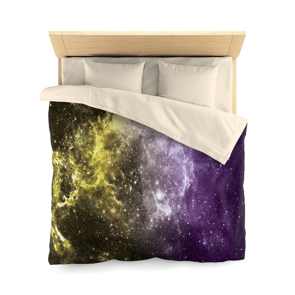 Non-Binary Pride Galaxy Microfiber Duvet Cover