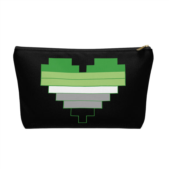 Aromantic Pride 8-bit Heart Accessory Pouch w T-bottom