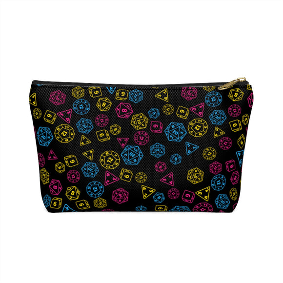 Pansexual Pride Scattered Dice Accessory or Makeup Pouch w T-bottom