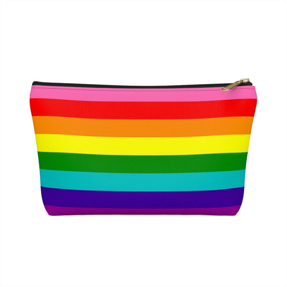 Gilbert Baker Rainbow Gay Pride Accessory or Makeup Pouch w T-bottom