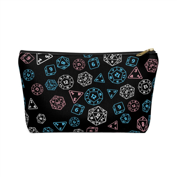 Transgender Pride Scattered Dice Accessory or Makeup Pouch w T-bottom