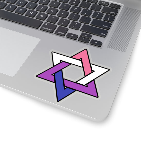 Genderfluid Pride Star of David Kiss-Cut Stickers