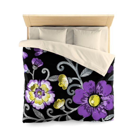 Non-Binary Pride Painted Floral Microfiber Duvet Cover
