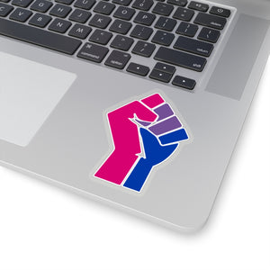 Bisexual Pride Raised Fist Kiss-Cut Stickers