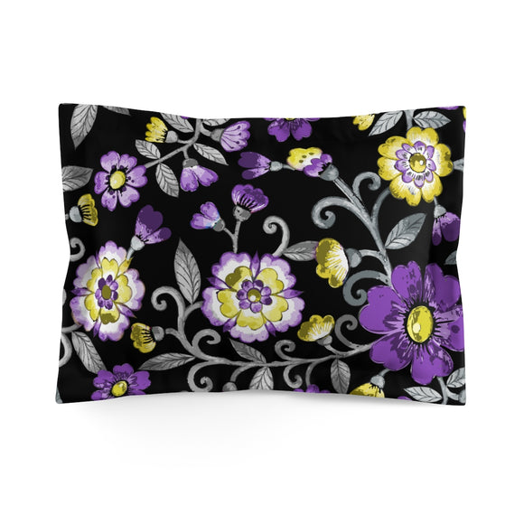 Non-Binary Pride Painted Floral Microfiber Pillow Sham