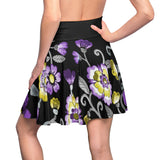 Non-Binary Pride Painted Floral Skater Skirt