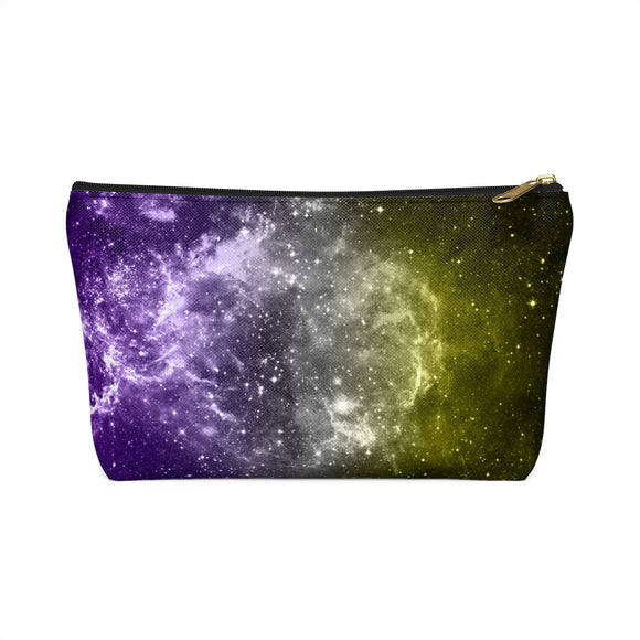 Non-Binary Pride Galaxy Accessory or Makeup Pouch w T-bottom