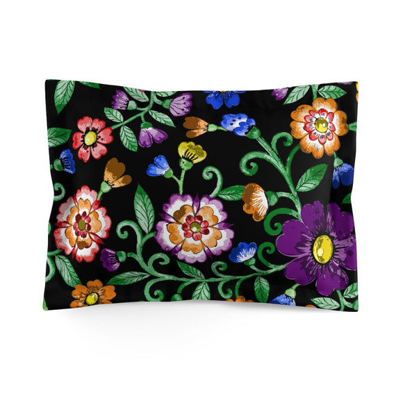 Rainbow Gay Pride Painted Floral Microfiber Pillow Sham