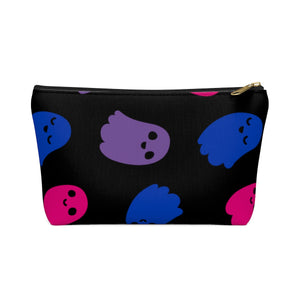 Bi Pride Ghosts Accessory or Makeup Pouch w T-bottom
