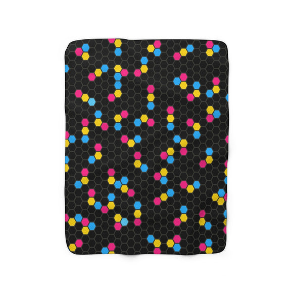 Pansexual Pride Honeycomb Sherpa Fleece Blanket