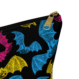 Pansexual Pride Engraved Bats Accessory or Makeup Pouch w T-bottom