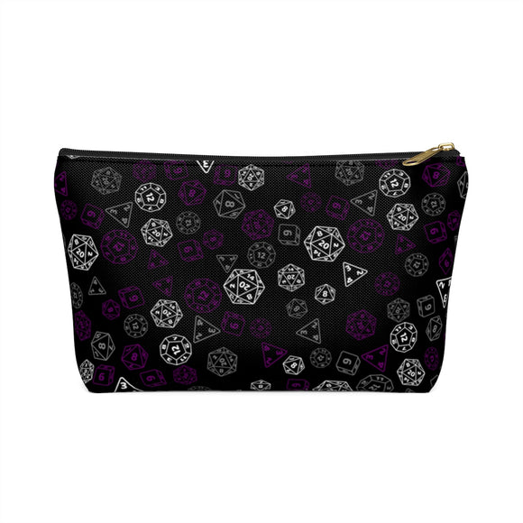 Asexual Pride Scattered Dice Accessory or Makeup Pouch w T-bottom