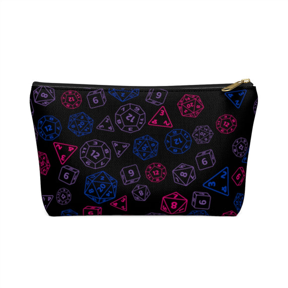 Bisexual Pride Scattered Dice Accessory or Makeup Pouch w T-bottom