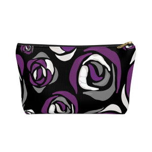 Asexual Pride Roses Accessory or Makeup Pouch w T-bottom
