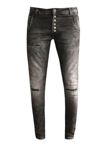 Zhrill Amy Black Distressed Jeans