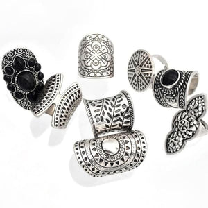 8 Piece Bohemian Vintage-Style Boho Jewelry Rings - ring