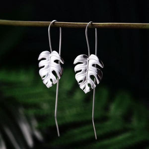 925 Sterling Silver Handmade Leaf Design Dangle Earrings - Silver Color - earrings