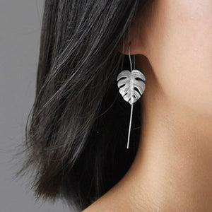 925 Sterling Silver Handmade Leaf Design Dangle Earrings - earrings