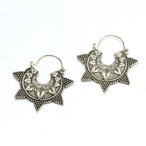 Antique Silver Gold Color Star Sun Pattern Hoop Earrings - antique gold - earrings