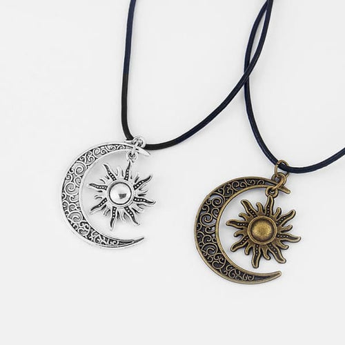 Antiqued Bronze Silver Crescent Moon/Sun Charm Pendant With Real Leather - Necklace