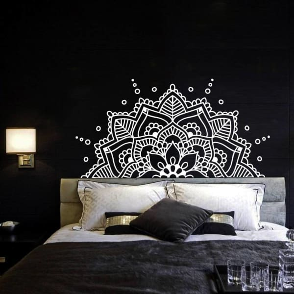 Bedroom Headboard Boho Half Mandala Wall Decal - Wall Decor