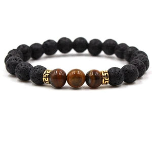 Black Lava Stone Chakra Bead Bracelet - A / AS PICTURE - bracelet