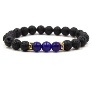 Black Lava Stone Chakra Bead Bracelet - D / AS PICTURE - bracelet