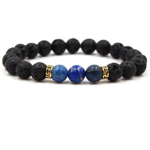 Black Lava Stone Chakra Bead Bracelet - H / AS PICTURE - bracelet