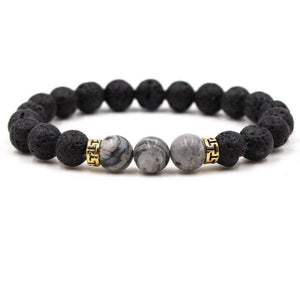 Black Lava Stone Chakra Bead Bracelet - I / AS PICTURE - bracelet