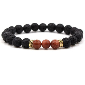 Black Lava Stone Chakra Bead Bracelet - K / AS PICTURE - bracelet