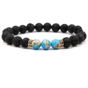 Black Lava Stone Chakra Bead Bracelet - L / AS PICTURE - bracelet