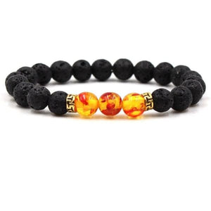 Black Lava Stone Chakra Bead Bracelet - N / AS PICTURE - bracelet