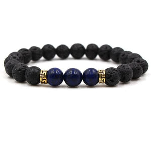Black Lava Stone Chakra Bead Bracelet - P / AS PICTURE - bracelet