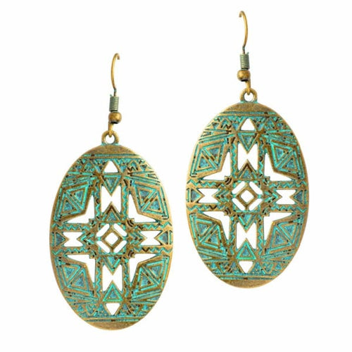 Bohemian Geometric Bronze Drop Earrings - earrings
