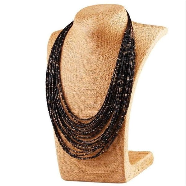 Bohemian Layer Beaded Necklace - Black - Necklace