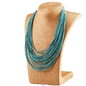 Bohemian Layer Beaded Necklace - Blue - Necklace