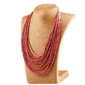 Bohemian Layer Beaded Necklace - Pink - Necklace