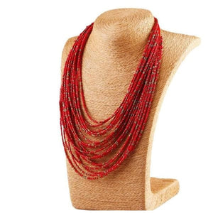 Bohemian Layer Beaded Necklace - Red - Necklace