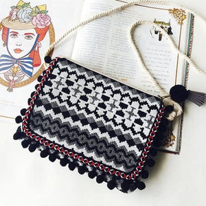 Boho Clutch Shoulder Bag With Tribal Design - Black - bag