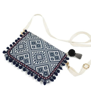 Boho Clutch Shoulder Bag With Tribal Design - Blue - bag