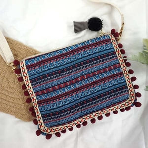 Boho Clutch Shoulder Bag With Tribal Design - Plum - bag