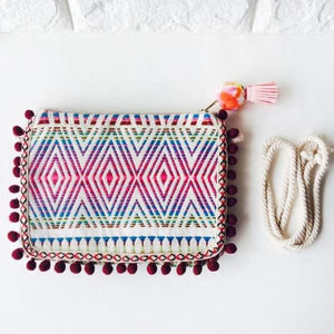 Boho Clutch Shoulder Bag With Tribal Design - Red - bag
