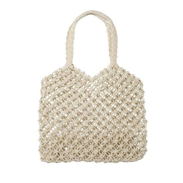 Boho Straw Shoulder Bag - beige - bag