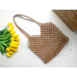 Boho Straw Shoulder Bag - brown - bag