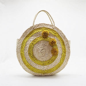 Circular Straw Beach Tote - bag