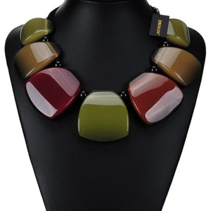 Colorful Resin Necklace - Necklace