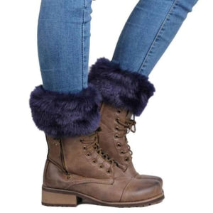 Crochet Boot Toppers With Fur Trim - Blue - socks