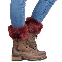 Load image into Gallery viewer, Crochet Boot Toppers With Fur Trim - Red - socks