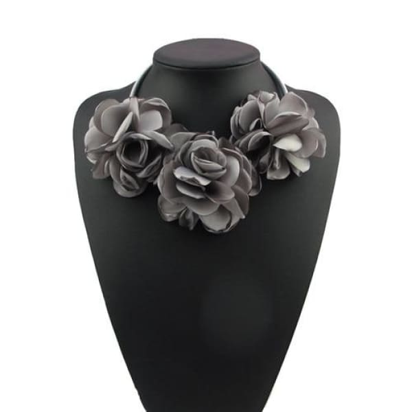 Fabric Flower Choker Necklace - Gray - Necklace