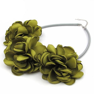 Fabric Flower Choker Necklace - Necklace